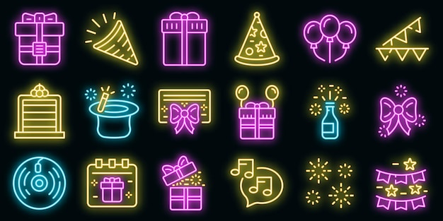 Surprise icons set vector néon