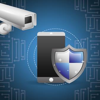 Surveillance de caméra de protection de bouclier de smartphone