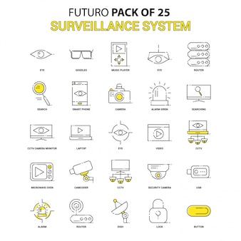 Surveillance icon set. futuro jaune dernier pack d'icônes