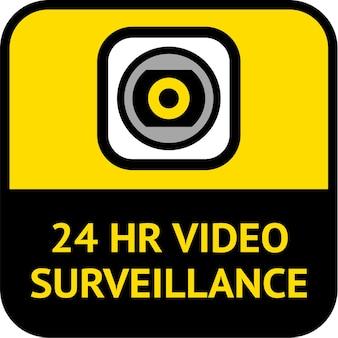 Surveillance vidéo, forme carrée d'étiquette de vidéosurveillance, illustration vectorielle