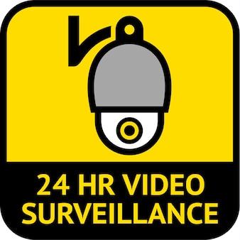 Surveillance vidéo, forme carrée d'étiquette de vidéosurveillance, illustration