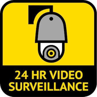 Surveillance vidéo, forme carrée d'étiquette de vidéosurveillance