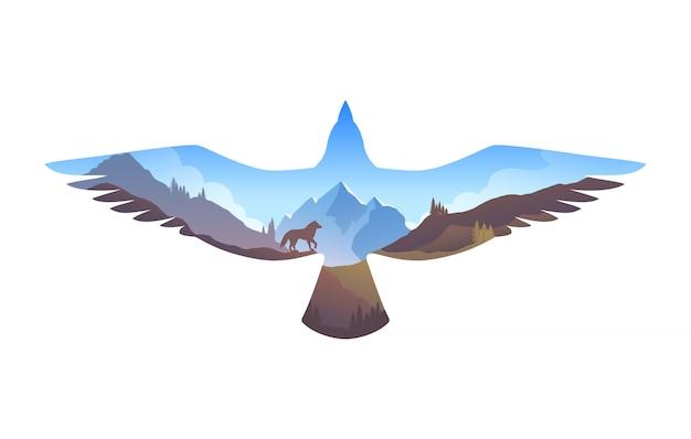 Survie à l'état sauvage. paysage de montagne en silhouette d'aigle. dans la nature. illustration avec effet double exposition
