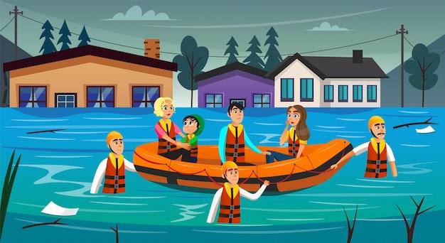 Survivants d'inondation de dessin animé assis dans un bateau gonflable