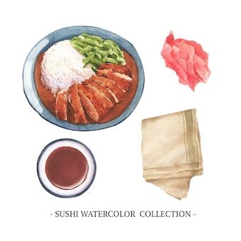 Sushi aquarelle créatif isolé