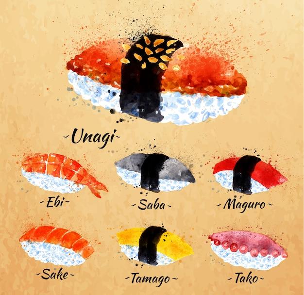Sushi aquarelle set dessinés à la main avec des taches et des taches unagi, sabe, maguro, saké