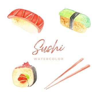 Sushi aquarelle