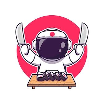 Sushi astronaute mignon avec dessin animé de couteau. concept d'icône de nourriture scientifique isolé. style de bande dessinée plat