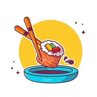 Sushi, baguettes et shoyu cartoon icon illustration. concept d'icône de cuisine japonaise isolé. style de bande dessinée plat