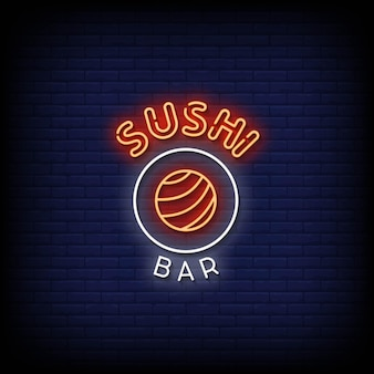 Sushi bar neon signs style text vector
