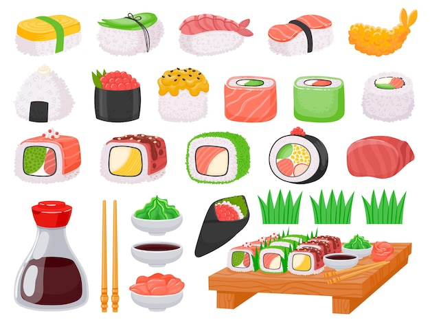 Sushi de cuisine japonaise, onigiri, sashimi de saumon et sauces. tempura de crevettes de dessin animé, baguettes asiatiques, sauce soja, ensemble de vecteurs de wasabi et de gingembre. assortiment isolé de cuisine traditionnelle orientale