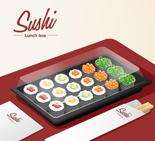Sushi à emporter avec plateau, baguettes et serviette sur table rouge