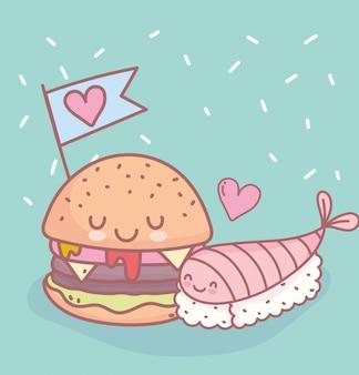 Sushi et hamburger avec amour menu restaurant nourriture mignon