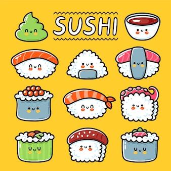 Sushi heureux drôle mignon, maki, collection de jeux de personnages de dessins animés de rouleaux. icône d'illustration de caractère kawaii ligne dessinée à la main de vecteur. dessin animé kawaii mignon sushi, concept de menu de restaurant de cuisine asiatique