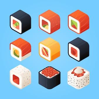 Sushi isométrique. divers rouleaux de sushis et autres mets asiatiques authentiques