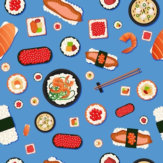 Sushi japonais de modèle sans couture de nourriture