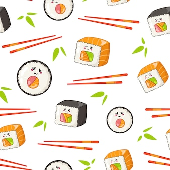 Sushi kawaii, rouleaux, baguettes, feuilles de bambou - modèle sans couture ou arrière-plan, emoji de dessin animé