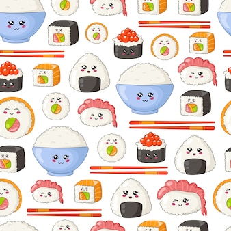 Sushi kawaii, sashimi, rouleaux - modèle sans couture ou arrière-plan, emoji de dessin animé, style manga