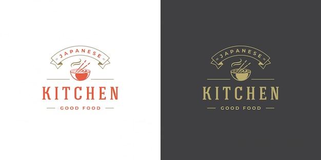 Sushi logo et badge restaurant de cuisine japonaise avec soupe de nouilles ramen silhouette de cuisine asiatique