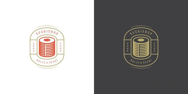 Sushi logo et badge restaurant de cuisine japonaise avec sushi saumon rouleau cuisine asiatique