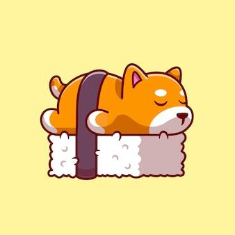 Sushi mignon de chien de shiba inu. style de bande dessinée plat