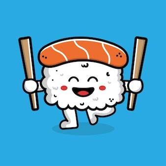 Sushi mignon tenant des baguettes dessin animé icône illustration