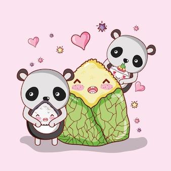 Sushi et pandas kawaii
