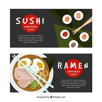 Sushi et ramen bannières