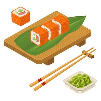Sushi roll philadelphia avec wasabi, fromage à la crème, baguettes, planche de bois.