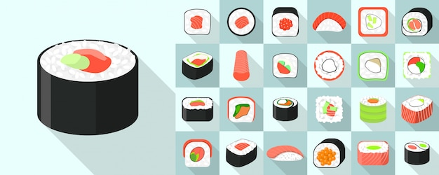 Sushi roll set d'icônes, style plat