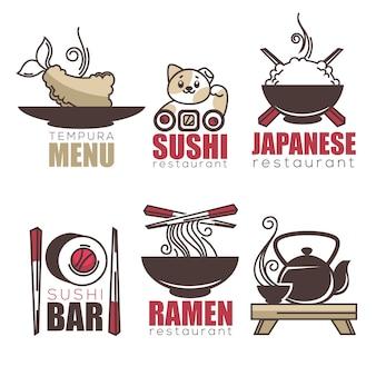 Sushi, tempura, ramen, thé, modèle de logo de dessin animé de doodle pour votre restaurant japonais