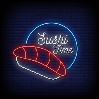 Sushi time neon signs style vecteur de texte
