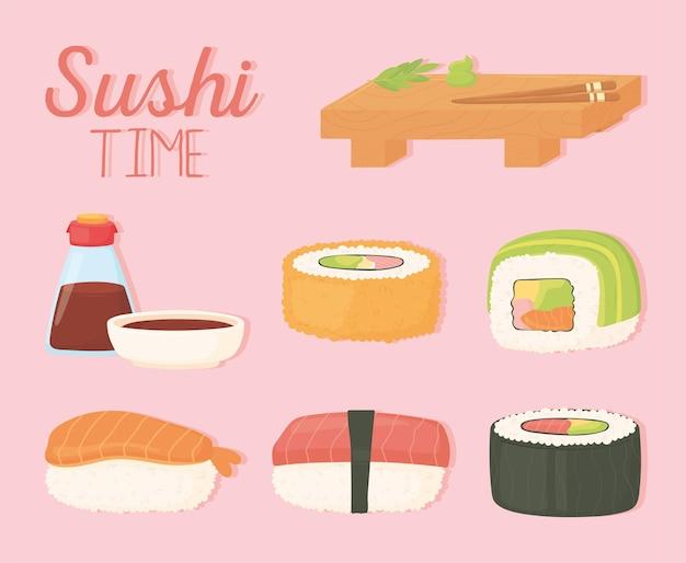 Sushi time plaque de bois sauce soja en bouteille et rouleaux illustration de conception