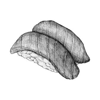 Sushis dessinés à la main
