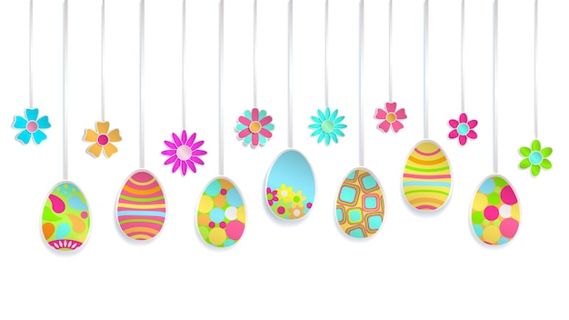 Suspendre des œufs de pâques colorés et des fleurs en papier