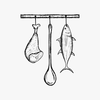 Suspension d'inspiration de vecteur de nourriture de cuisine