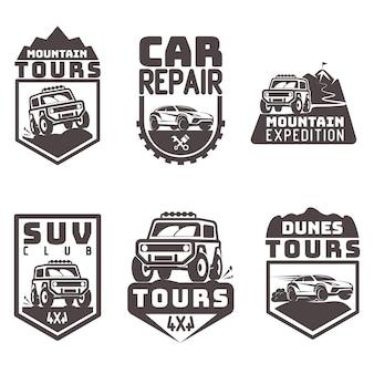 Suv 4x4 hors route voyage tour club icon logo template vecteur