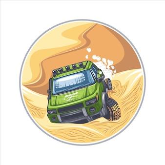 Suv vert conduisant à travers des obstacles difficiles dans le désert.