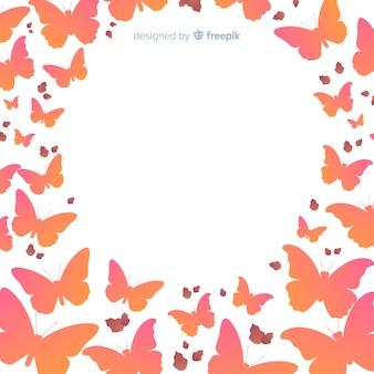 Swarm butterfly silhouettes cadre de fond
