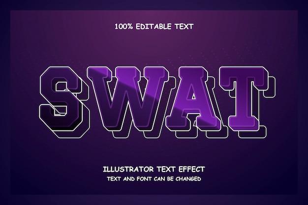 Swat, effet de texte modifiable 3d style moderne