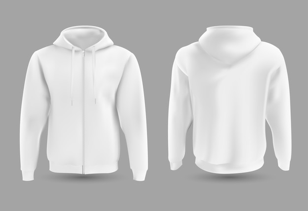 Sweat à capuche blanc à l'avant et à l'arrière.