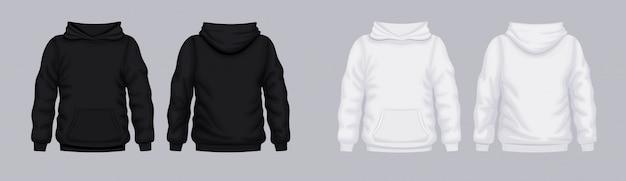 Sweat à capuche blanc noir devant dos. sweat-shirt à la mode.