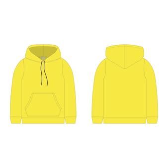Sweat à capuche pour enfants de couleur jaune isolé. vêtements enfant sweat technique croquis.