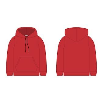 Sweat à capuche pour enfants en couleur rouge isolé.
