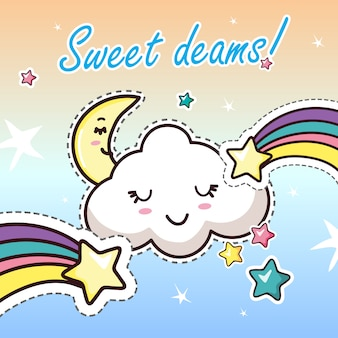 Sweat dreams kawaii cartoon lettrage