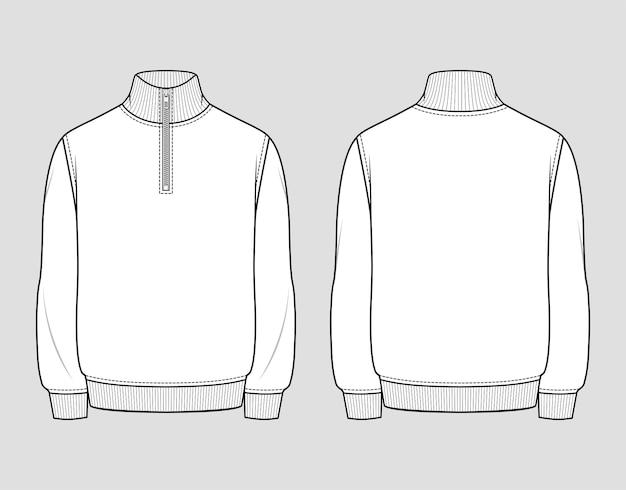 Sweat quart zippé. vêtements décontractés pour hommes. croquis technique de vecteur. modèle de maquette.