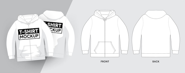 Sweats à capuche t-shirt template outline stroke illustrations