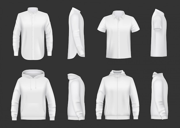 Sweatshirt, sweat à capuche et chemise maquette réaliste