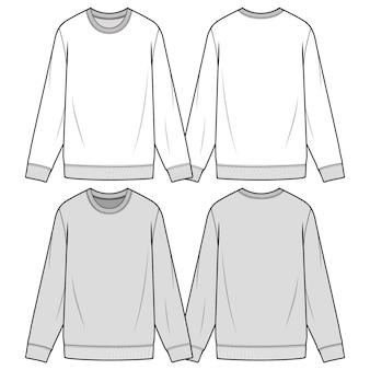Sweatshirts modèle de croquis plat mode