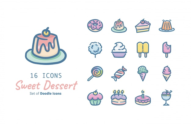 Sweet dessert vector icon design collection